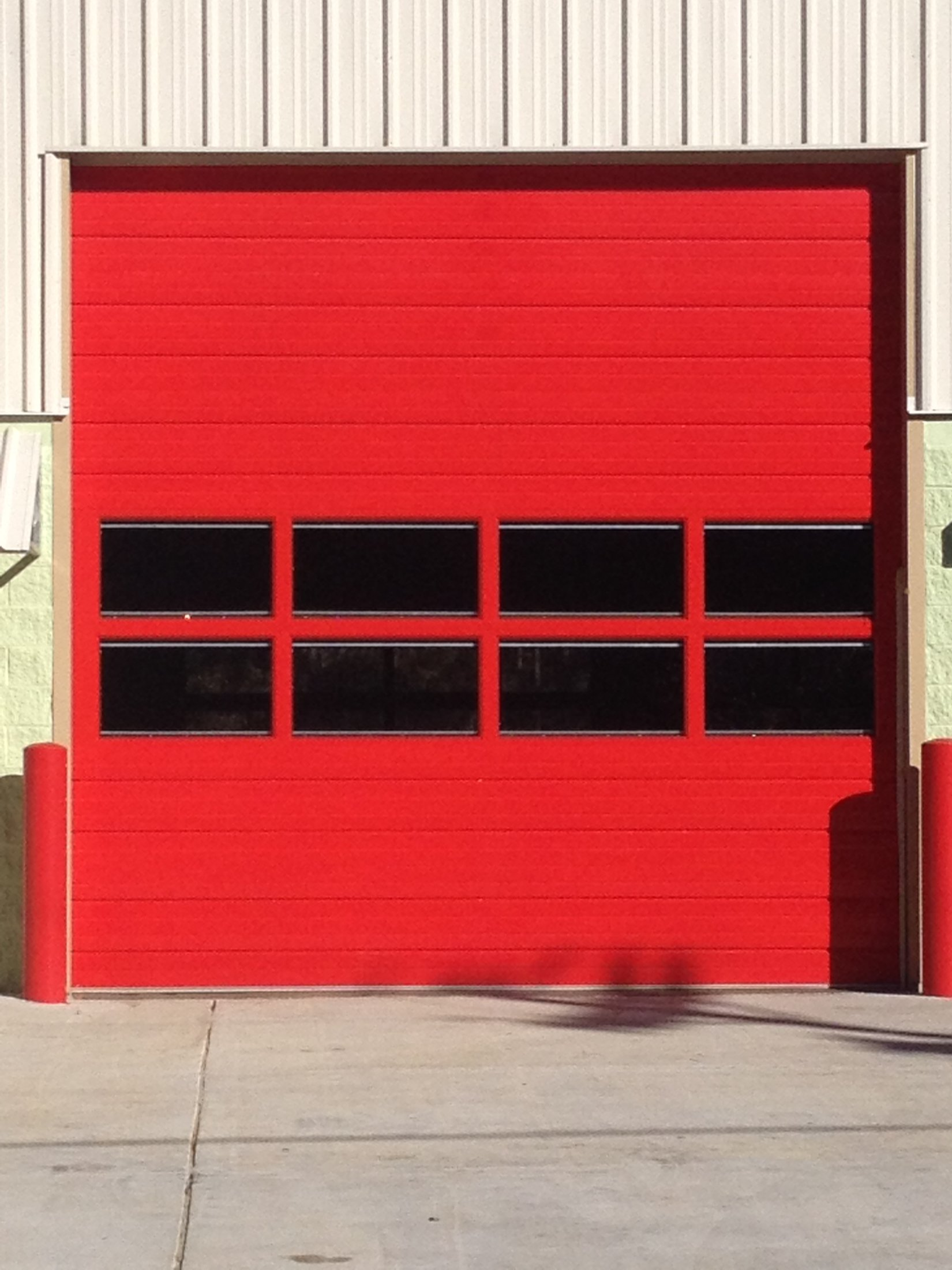 Commercial overhead garage door - Custom Red Commercial Sectional Door