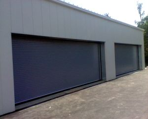 Custom Blue Rolling Doors