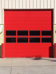 Custom Red Commercial Sectional Door